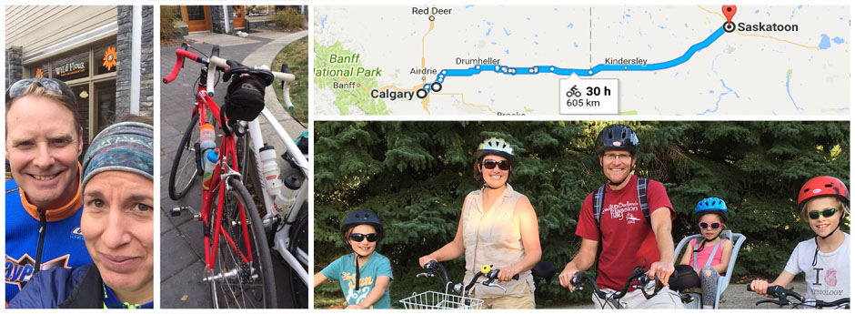 Jamie & Julie Popoff; Steve & Kirsten Waldschmidt and their kids, and a map from Calgary to Saskatoon